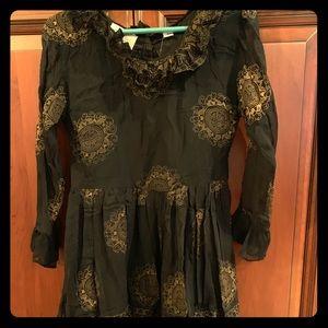 Vintage Gold-print Ruffled Dress